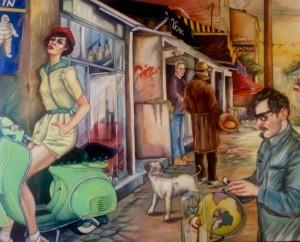 """VENDU - Les copains de St Ouen """" Les Puces"""" 163x130cm"""